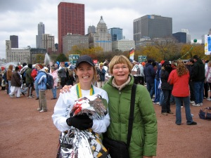 My mother and I after the race - I was SO thrilled with my time.