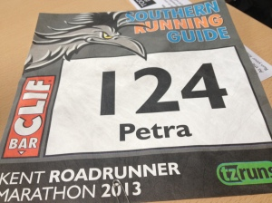 I love personalised race numbers.  First time ever for me!